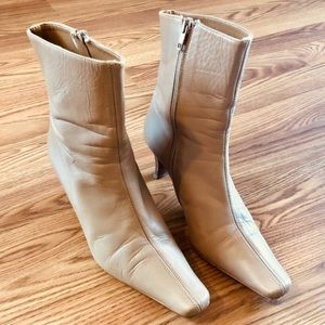 Steve Madden Nude Square-Toe Leather Boots